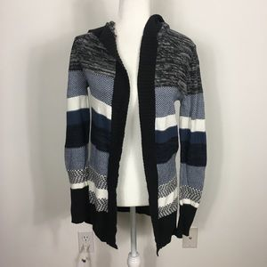 Roxy Blue, Black, and Grey Striped Open Cardigan